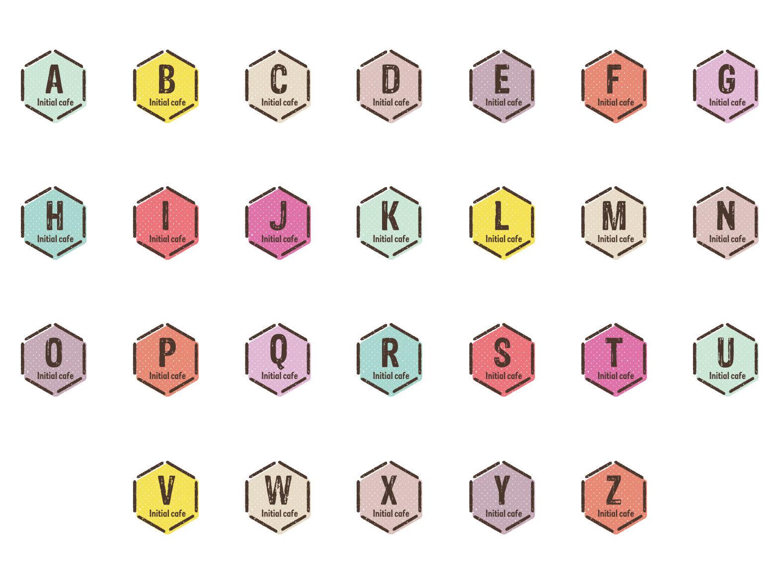 イニシャル アルファベット素材  AからZまで ヘキサゴン ベクターデータで無料でダウンロード