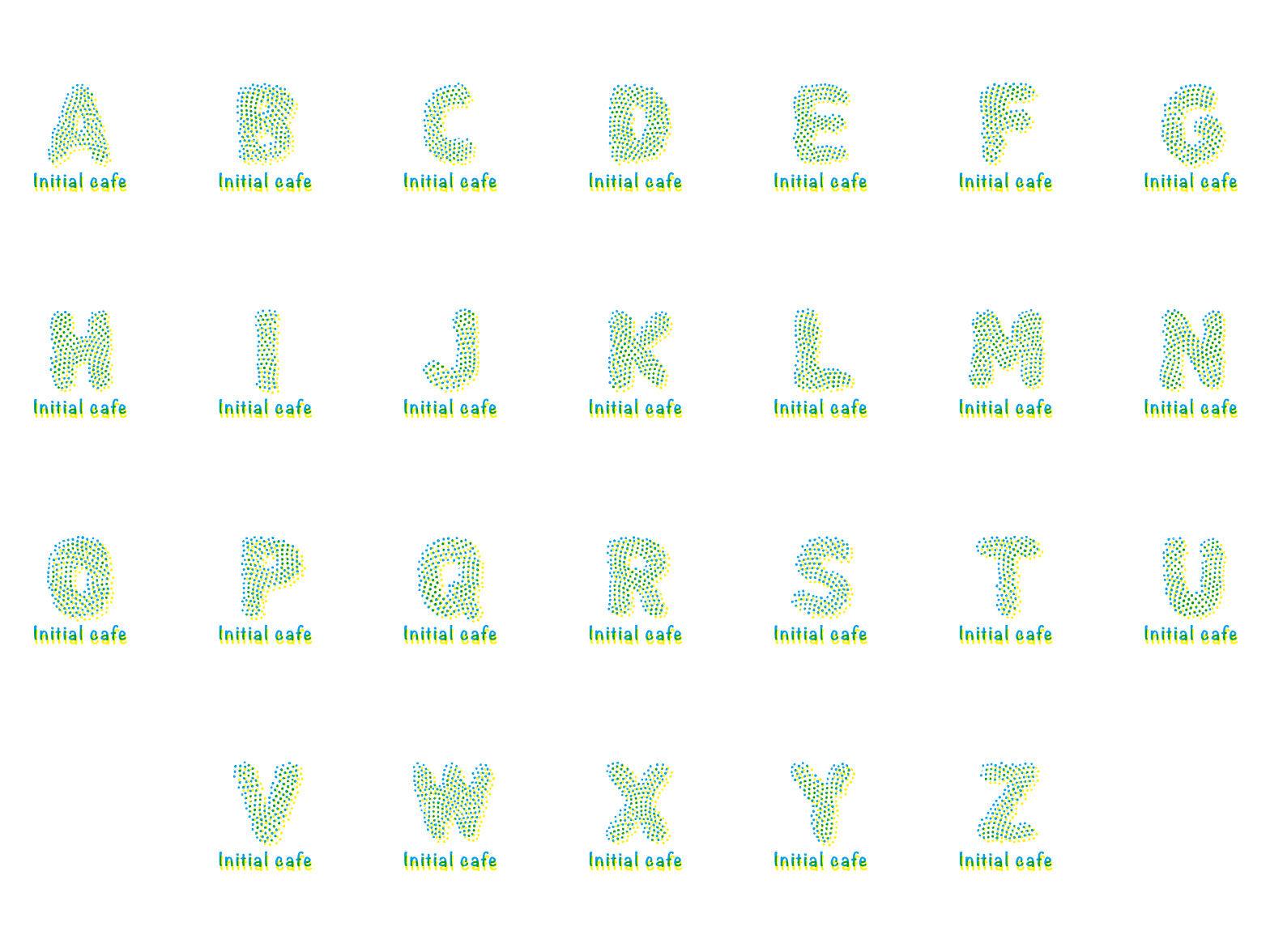 ブルードット イニシャル アルファベット素材  AからZ ベクターデータで無料でダウンロード